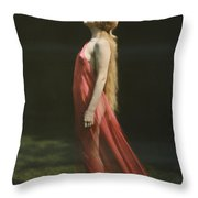 Portrait Of A Nude Woman Draped Throw Pillow by Franklin Price Knott