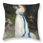 Portrait Of Lise   Throw Pillow by Pierre Auguste Renoir
