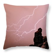Praying Monk Camelback Mountain Lightning Monsoon Storm Image Throw Pillow by James BO  Insogna