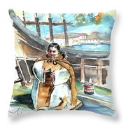 Preaching The Bible On The Conquistadores Boat In Vila Do Conde In Portugal Throw Pillow by Miki De Goodaboom
