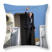 President George Bush Waves Good-bye Throw Pillow by Stocktrek Images