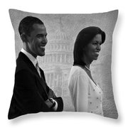 President Obama And First Lady Bw Throw Pillow by David Dehner