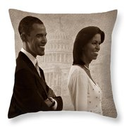 President Obama And First Lady S Throw Pillow by David Dehner