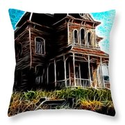 Psycho House Throw Pillow by Paul Van Scott