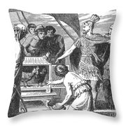 Publius Claudius Pulcher And The Sacred Throw Pillow by Photo Researchers