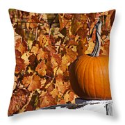 Pumpkin on white fence post Throw Pillow by Garry Gay