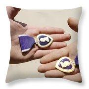 Purple Heart Recipients Display Throw Pillow by Stocktrek Images