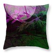 Purple Moon Throw Pillow by Ann Powell