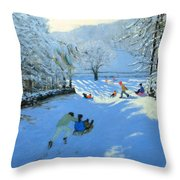 Pushing The Sledge Throw Pillow by Andrew Macara