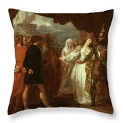 Queen Philippa Interceding for the Lives of the Burghers of Calais Throw Pillow by Benjamin West