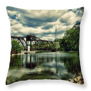 Rail Swing Bridge Throw Pillow by Joel Witmeyer