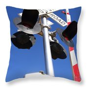 Railroad Crossing Sign And Gate . 7d10645 Throw Pillow by Wingsdomain Art and Photography
