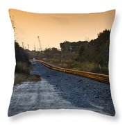 Railway Into Town Throw Pillow by Carolyn Marshall