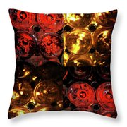 Red and White Wine Collage Throw Pillow by Joan  Minchak