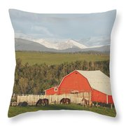 Red Barn With Horses Grazing Throw Pillow by Michael Interisano