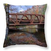 Red Bridge Throw Pillow by Debra and Dave Vanderlaan