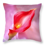 Red Calla Lily Throw Pillow by Mike McGlothlen