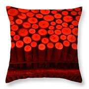 Red Circle Sticks Throw Pillow by Kym Backland