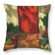 Red Door - Shadow and Light Throw Pillow by Diane McClary