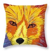 Red Fox Throw Pillow by Peggy Quinn