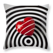 Red Heart On Circle Plate Throw Pillow by Garry Gay