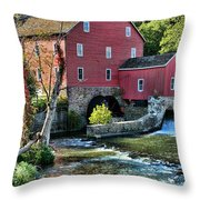 Red Mill On The Water Throw Pillow by Paul Ward