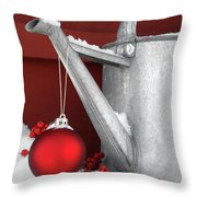 Red Ornament On Watering Can Throw Pillow by Sandra Cunningham