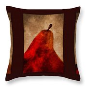 Red Pear Triptych Throw Pillow by Carol Leigh