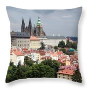 Red Rooftops of Prague Throw Pillow by Linda Woods