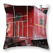 Red Sante Fe Caboose Train . 7D10330 Throw Pillow by Wingsdomain Art and Photography
