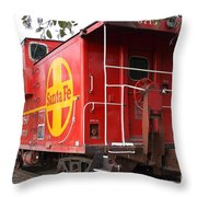 Red Sante Fe Caboose Train . 7d10332 Throw Pillow by Wingsdomain Art and Photography