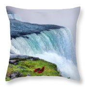 Red Shoes Left By The Falls Throw Pillow by Jill Battaglia