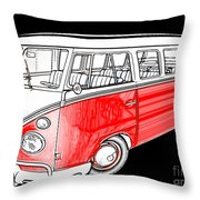Red Volkswagen Throw Pillow by Cheryl Young