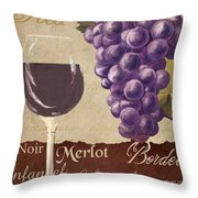 Red Wine Collage Throw Pillow by Grace Pullen