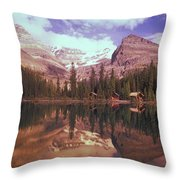 Reflection Of Cabins And Mountains In Throw Pillow by Carson Ganci