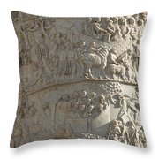 Relief. Detail View Of The Trajan Column. Rome Throw Pillow by Bernard Jaubert