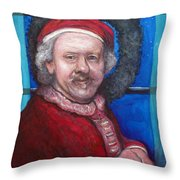Rembrandt Santa Throw Pillow by Tom Roderick