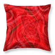 Ribbons Of Red Abstract Throw Pillow by Carol Groenen