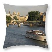 River Seine In Paris Throw Pillow by Bernard Jaubert