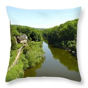 River Severn From The Iron Bridge Throw Pillow by Rod Johnson