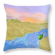 River To The Sea Throw Pillow by Mathilde Vhargon