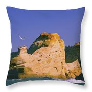 Rocky Coast Of Cape Kiwanda State Throw Pillow by Craig Tuttle