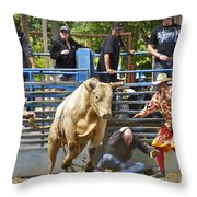 Rodeo Clowns To The Rescue Throw Pillow by Sean Griffin