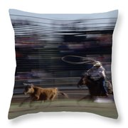 Rodeo Cowboy Trying To Lasso A Running Throw Pillow by Chris Johns