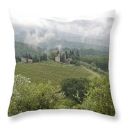 Rolling Green Hills, Wine And Olive Throw Pillow by Keenpress