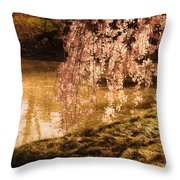 Romance - Sunlight Through Cherry Blossoms Throw Pillow by Vivienne Gucwa