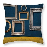 Room With Frames Throw Pillow by Atiketta Sangasaeng