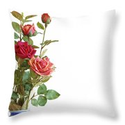 Roses Bouquet Throw Pillow by Carlos Caetano