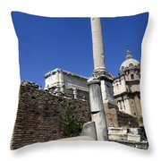 Rostra. Column Of Phocas And Septimius Severus Arch In The Roman Forum. Rome Throw Pillow by Bernard Jaubert