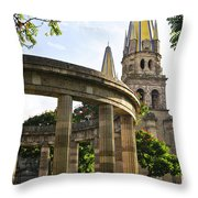 Rotunda Of Illustrious Jalisciences And Guadalajara Cathedral Throw Pillow by Elena Elisseeva